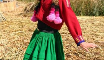 Dressed in traditional Uros garb