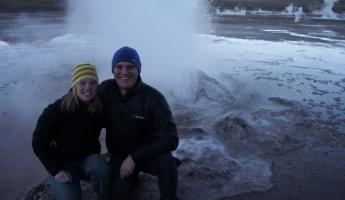 Mike and I at the geysers in Atacama.