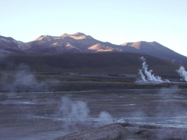 Early morning at the geysers in the Atacama.