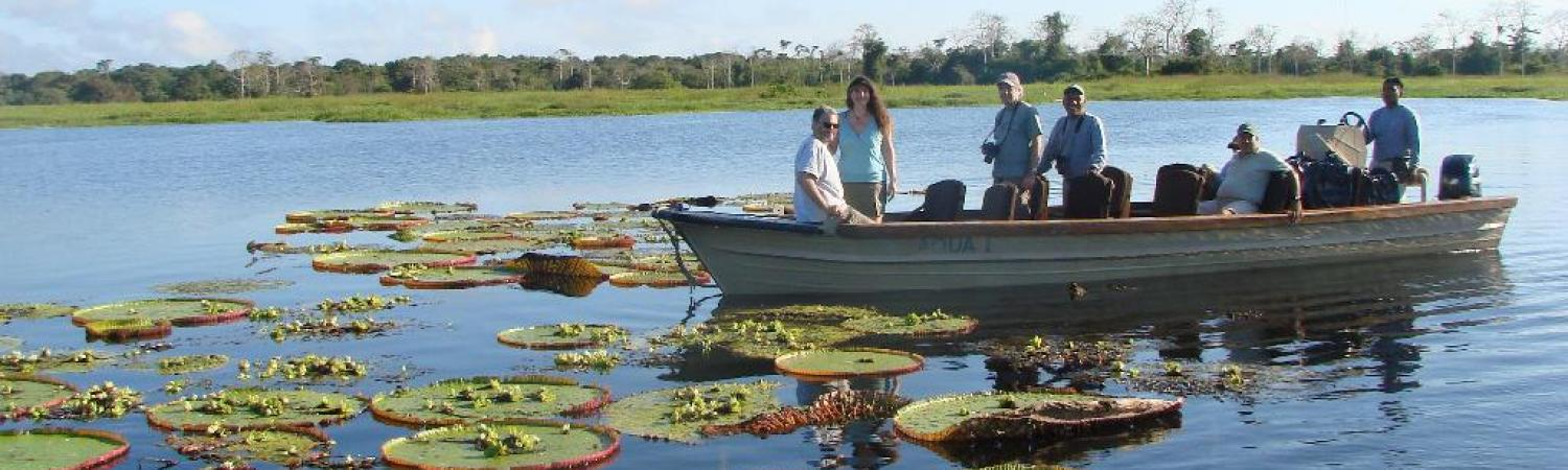 Cruising amongst giant lily pads in the Amazon