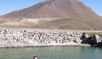 Swimming in hot springs in the Atacama Desert
