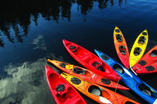 Kayaks in the water.