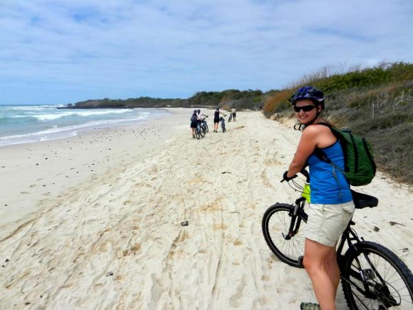 Biking on the beach on Isabela