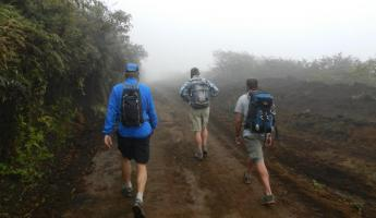 Hiking in the fog up to Sierra Negra