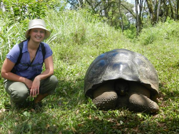 Finding a giant tortoise on a hike