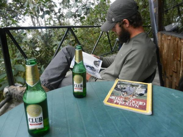 Relaxing with a cold beer and a book at Bellavista Cloud Forest Reserve