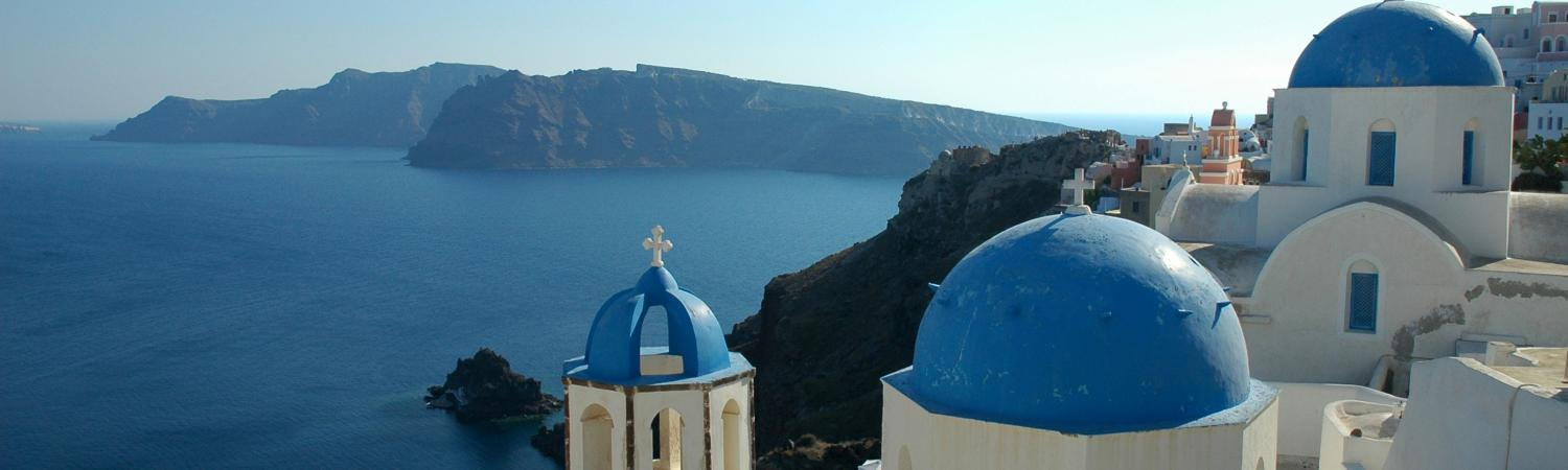 The whitewashed cliffs of Santorini