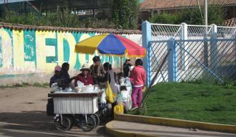 Local juice stands on the way out of Cusco