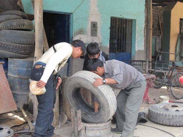 Our driver and his son repaired the tire while we ate lunch