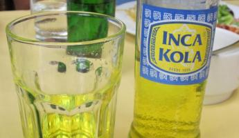 Our first Inca Kola.  It tastes just like bubble gum!