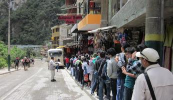The line to take the bus up to the ruins; it moved quick