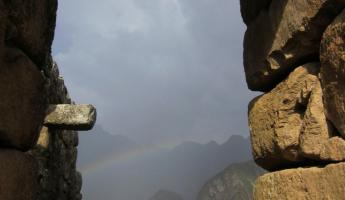 Rainbow starting to form at Machu Picchu