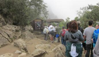 The line for Huayna Picchu