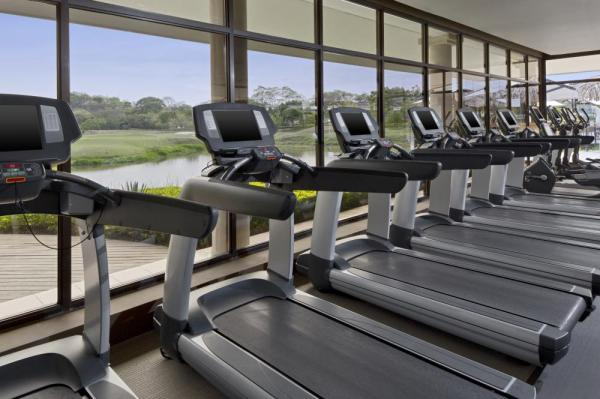 An extensive fitness center is available on the grounds