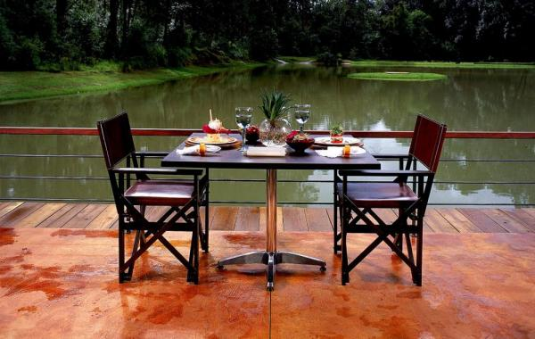 Enjoy a meal overlooking the lake