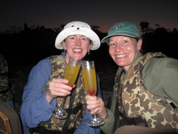 Drinking champagne on the Amazon.  Incredible!
