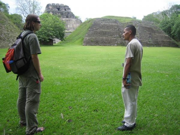 Guide Miguel sharing information at Xunantunich ruins