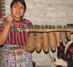 Demonstration of traditional Mayan instruments