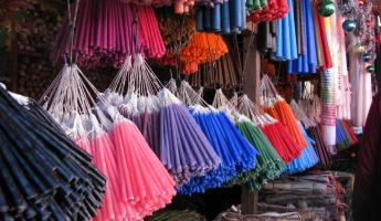 colorful candles for worship in the Chichicastenango market