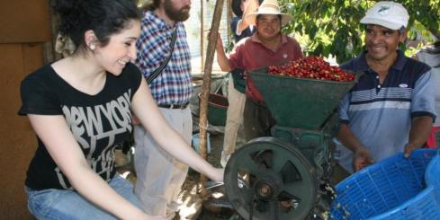Learning about coffee production in Antigua, Guatemala