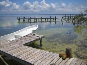 A panga rests docked on Ambergris Caye