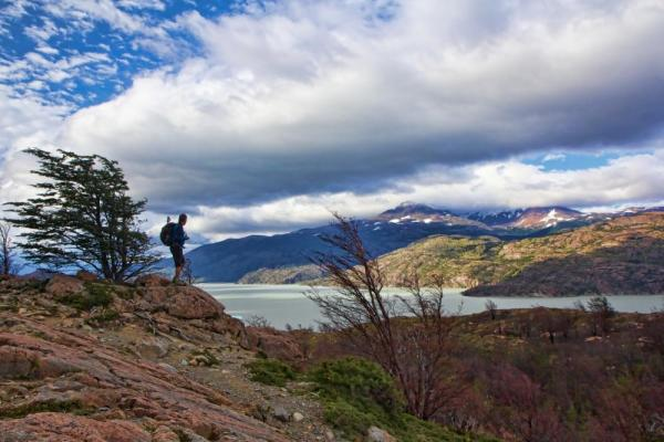 Taking in the view while on a trek in Patagonia