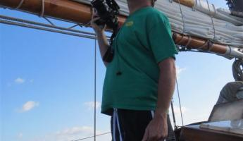 Catching the wind on our sailing adventure on the Liberty Clipper