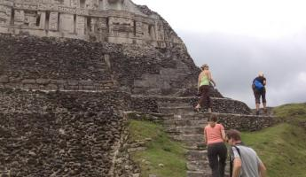 Hiking up el Castillo at Xunantunich
