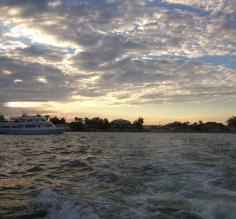 Leaving Belize City at sunset