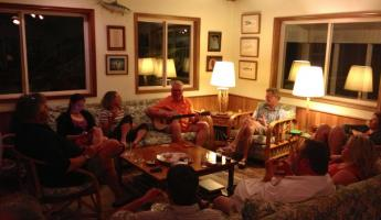 Relaxing around the lodge before dinner at Turneffe Flats