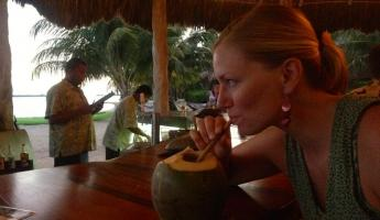 Drinking cocktails from a coconut