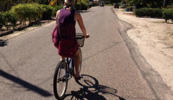 Biking from Turtle Inn to downtown Placencia