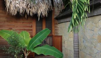 Our outdoor shower and patio at Turtle Inn in Placencia