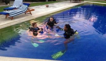 Diving lessons in the pool