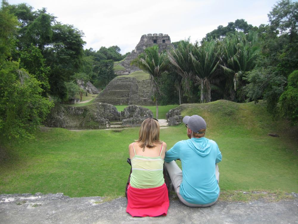 Looking up towards el Castillo at Xunantunich