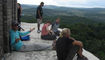 Relaxing and enjoying the views on top of el Castillo