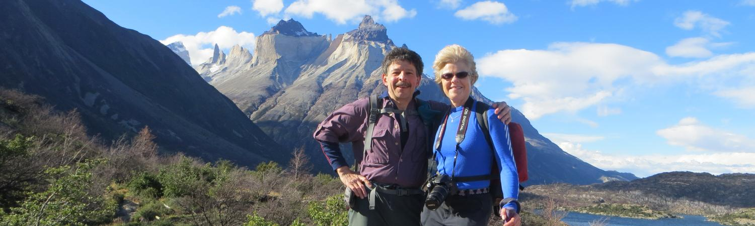 Happy hiking couple in Torres del Paine