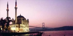 A Turkish mosque overlooks the Bosporus Strait in Istanbul