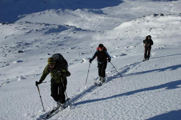 Uphill climb to enjoy an Arctic downhill ski