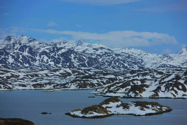 Beautiful mountainous view between Nuuk and Manitsoq