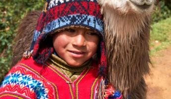 Quetchua boy with his llama