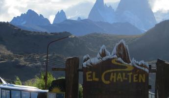 The silhouette of the Fitz Roy Massif matches the Chalten sign