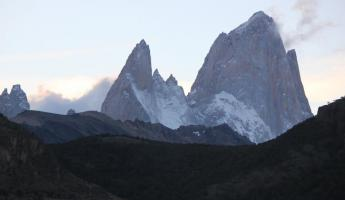 Day 8: Poincenot (center left) and Fitz Roy (right) at dusk