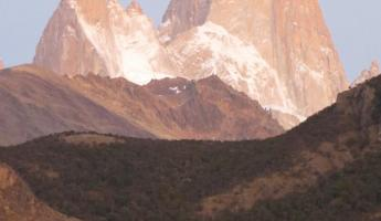 Day 9: Poincenot (left) and Fitz Roy (right) at dawn