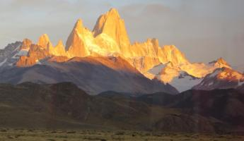 The view of Fitz Roy from the bus leaving Chalten