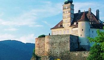 The Schnonbul Castle looks out over the landscape of the Danube River valley