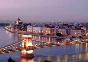 A bridge over the Danube connects the twin cities of Buda and Pest, Hungary