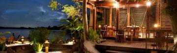 One of Jicaro Island EcoLodge's at night