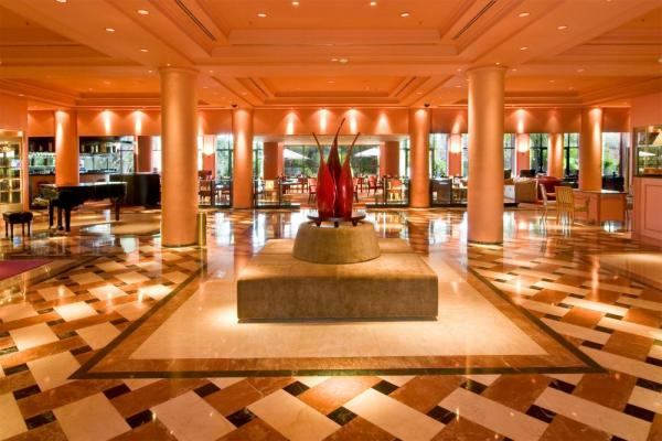 Admire the beautiful layout of Iguazu Grand's spacious lobby