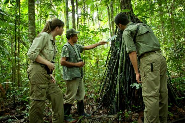 Exploring the trails of Cristalino Jungle Lodge with your naturalist guide